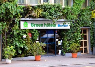 façade green hotels paris 13